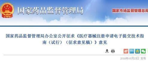 国家药监局发布《医疗器械注册申请电子提交技术指南(试行)(征求意见稿)》